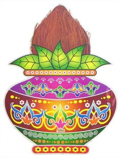 Colorful Sticker Rangoli Coconut on Kalash Print on Paper (Ritual Print on Sticker for Wall or Floor Decoration)