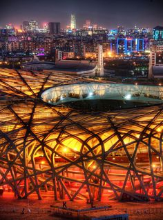 The nest. Beijing National Stadium, officially the National Stadium, also known as the Bird's Nest, is a stadium in Beijing, China. The stadium was designed for use throughout the 2008 Summer Olympics and Paralympics.
