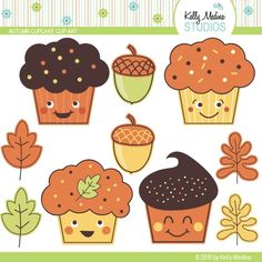 Autumn Cupcakes Clip Art Set - Digital Elements Commercial use for Cards, Stationery and Paper Crafts and Products