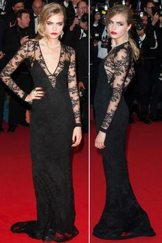 Cara Delevingne wearing Burberry Black Lace Dress