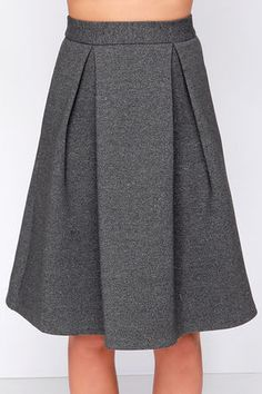 Right Flair Grey Midi Skirt at Lulus.com!