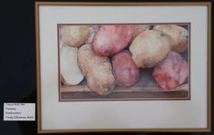 """Art for the month of March 2017, by Trudy Mills. """"Potatoes"""" done in watercolor."""