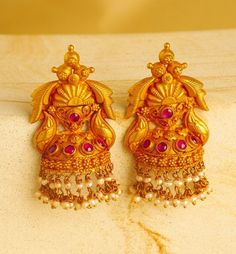 Indian Jewellery and Clothing: unique designs of jhumkas from Mehta jewellers. Gold Jhumka Earrings, Jewelry Design Earrings, Gold Earrings Designs, Gold Jewellery Design, Gold Jewelry, Bridal Jewellery, Jhumka Designs, Ruby Earrings, India Jewelry
