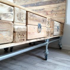 Pallet Wood and Scaffold Bed with Headboard and by RatAndPallet