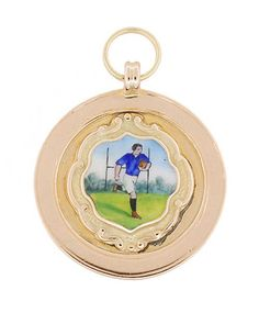 Vintage Enameled Rugby Football Pendant in 9 Karat English Gold
