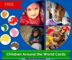 """Teaching diversity in a montessori classroom. Part 2 of """"expanding the Chilld's horizons"""" blog printables series. Free """"children around the world cards"""". Free Montessori Printables"""