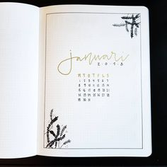 Bullet journal monthly cover page, January cover page, plant drawings. | @hstahl.bujo