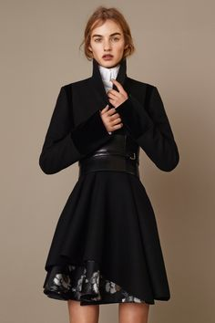 Alexander McQueen Pre-Fall 2015 Runway – Vogue Feminine silhouette enhanced with wide belt around waist.