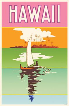 Hawaii vintage travel poster with outrigger  USA