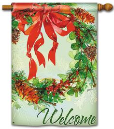 Magnet Works House Flag - Holiday Wreath Decorative Flag at Garden House Flags at GardenHouseFlags