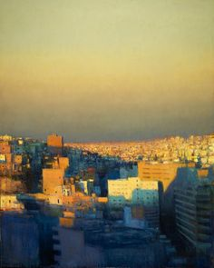 Andrew Gifford - View from Wild Jordan Cafe looking North-east, Evening - 2011 Oil on canvas 60 x 48 ins x 122 cm) Contemporary Landscape, Urban Landscape, Landscape Art, Landscape Paintings, Landscapes, City Painting, Light Painting, Painting Prints, Traditional Paintings
