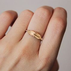 feather silver gold promise ring