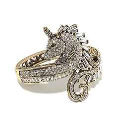 """Shop Heidi Daus """"Untamed Beauty"""" Crystal-Accented Unicorn Bangle Bracelet, read customer reviews and more at HSN.com."""