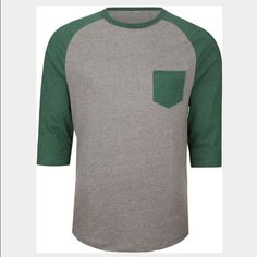 GREEN RAGLAN QUARTER SLEEVE TEE Perfect condition! Only worn a couple times. No signs of wear. Also available in red. PacSun Tops Tees - Long Sleeve
