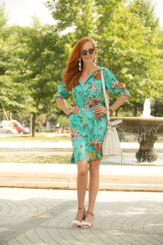 Turning Heads Linkup – Soft Surroundings – Floral Shirt Dress and Floral Sandals