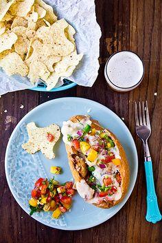 Chicken Cheesesteaks with Queso and Pico de Gallo