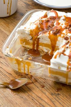 Here's an almost no-bake treat you'll love: Assemble all the luscious cream cheese and pumpkin filling, the top with caramel sauce! Get the recipe at Delish.
