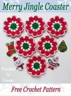 Pretty free christmas crochet coaster pattern, can also me crochet in different colors for all year round, get the pattern on crochetncreate. #crochet #crochetcoasters #christmascrochet #freecrochetpatterns #festivecrochetpatterns