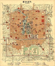 Antique map of Peking - Vintage map of Beijing - 1903