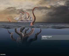 Photo of a tall ship sailing in an ocean storm and stalked by a sea monster with giant octopus-like tentacles coming up from the ocean depths. Ocean Storm, Ocean Depth, Octopus Tentacles, Sea Monsters, Ship Art, Kraken, Tall Ships, Under The Sea, Royalty Free Images