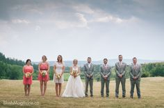 Renee & Devon's Earthy-Romantic Wedding: Bridal Party Ivory, Coral & Grey. Bride wearing Carrie by Hayley Paige