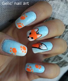 40 Animal Themed Nail Art Designs To Inspire You - Page 4 of 4 - Best Nail Designs ,Hair Sytles,Fashion Crazy Nail Designs, Beautiful Nail Designs, Nail Art Designs, Cute Nail Art, Cute Nails, Pretty Nails, Fox Nails, Animal Nail Art, Nails For Kids