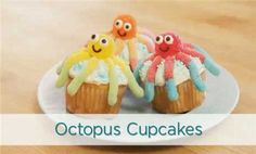 Octopus Cupcakes--A sweet, ocean-themed cupcake.
