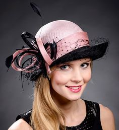 Pink and black cloche hat for weddings Ascot Derby by MargeIilane