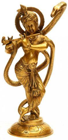 Shri Krishna and Kaliya, Brass Brass Sculpture Krishna Lila, Baby Krishna, Jai Shree Krishna, Krishna Radha, Lord Krishna, Shiva, Hanuman, Religions Du Monde, Krishna Statue