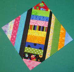 """FABRIC THERAPY: TUTORIAL: """"X"""" MARKS THE BLOCK (free pieced strippy quilt)"""