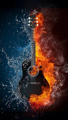 Acoustic guitar in fire and water. Illustration of the acoustic guitar in elements isolated on black background. High resolution acoustic guitar in fire and water image for a guitar concert poster. Guitar Art, Music Guitar, Music Music, Art Of Music, Acoustic Guitar, Music Wall, Music Files, Sheet Music, Musik Wallpaper