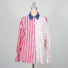 vintage American flag print button down shirt / bill blass / red white and blue / patriotic / 4th of july