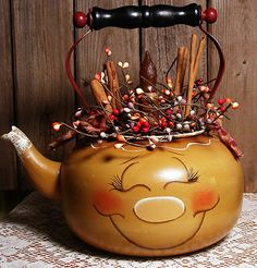 wonderful handpainted, ginger tea kettle by my friend Eileen Cooper!