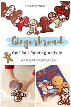 Looking for a fun gingerbread art activity for toddlers and preschoolers? This process art method uses golf balls and paint! Free printable included. #Christmas #art #processart #gingerbread #finemotor #classroom #preschool #toddlers #toddleractivity #AGE2 #AGE3 #teaching2and3yearolds