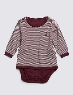 Pure Cotton Knitted Striped Bodysuit   M&S £12