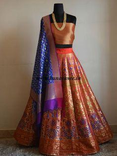 Banarasee/Banarasi Handwoven Art Silk Unstitched Lehenga & Blouse Fabric With Woven Meena Design-Red