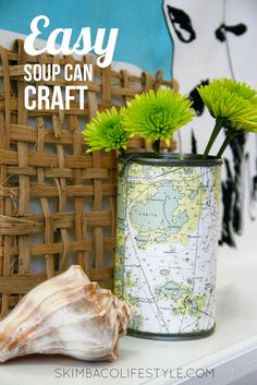 Easy DIY pen holder or vase. DIY with a soup can. Make it with any paper or even maps!