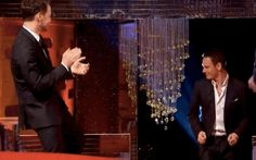 "Note James McAvoy's serious legwork, here. | Watch Hugh Jackman, Michael Fassbender And James McAvoy Dance To ""Blurred Lines"""