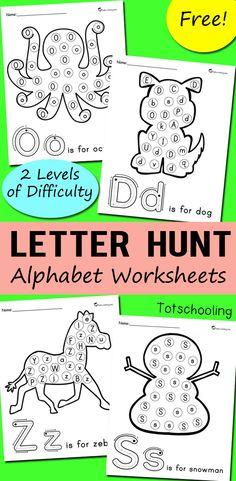 Alphabet Letter Hunt Worksheets