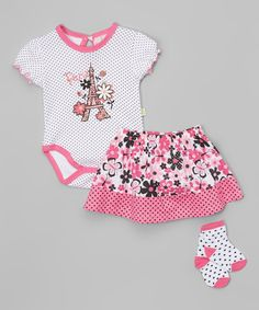Pink Eiffel Tower Bodysuit & Skirt Set - Infant by Duck Duck Goose #zulily #zulilyfinds