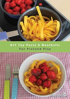 Create easy toy pasta and meatballs for pretend play (Papyrus Prop)DIY Toy Pasta and Meatballs for Pretend Play. I like the felt noodles, but not quite sure about the seed pod meatballs.I can make the noodles out of fly and put them in a diy plastic Diy Play Kitchen, Toy Kitchen, Play Kitchens, Open Kitchens, Kitchen Cabinets, Pretend Food, Pretend Play, Role Play, Felt Diy