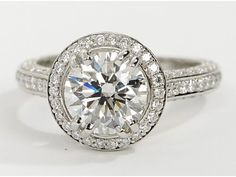 Blue Nile Heirloom Halo Micropavé Diamond Engagement Ring in Platinum.