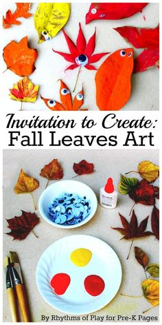 A fun fall leaves art activity. Art exploration using fall leaves, tempera paint, and googly eyes for preschool, pre-k, or kindergarten Autumn Activities For Kids, Fall Crafts For Kids, Art Activities, Diy And Crafts, Teaching Activities, Teaching Tools, Autumn Crafts, Autumn Art, Autumn Theme