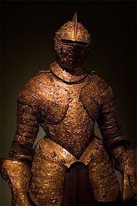 Plate armour for Henry II of France, made around 1555, with elaborate ornamental embossing. Held at Kunsthistoriches Museum, Vienna, Austria http://www.khm.at/en/ Wiki: http://en.wikipedia.org/wiki/File:Medieval_armour_Vienna_museum.jpg