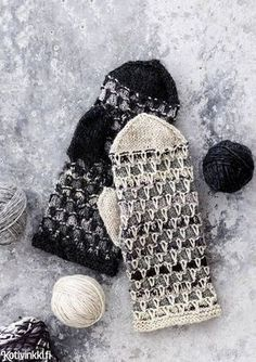 Lapaset jämälangasta / Miitens from coarse yarn Knitted Mittens Pattern, Knit Mittens, Knitted Gloves, Knitting Socks, Knitting Patterns Free, Hand Knitting, Crochet Patterns, Fingerless Mittens, Wrist Warmers