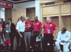 New trending GIF tagged obama handshakes via Giphy...
