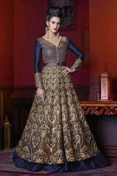 #Eid #Dresses - Engrossing Royal Blue Silk Anarkali Banglori Silk Gown Dress - DMV15149
