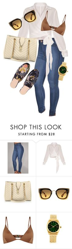"""""""Outfit"""" by angiebe1 ❤ liked on Polyvore featuring Yves Saint Laurent, Miu Miu, Melissa Odabash and Nixon"""
