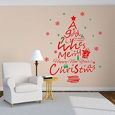 Merry Christmas Happy New Year Saying Sticker Red Christmas Tree Snowflake Wall Decals Removable Home Decor * This is an Amazon Affiliate link. Learn more by visiting the image link.