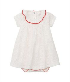 Baby girl short-sleeved bodysuit dress in polka dot soft jersey Lait white / Gingembre orange - Petit Bateau